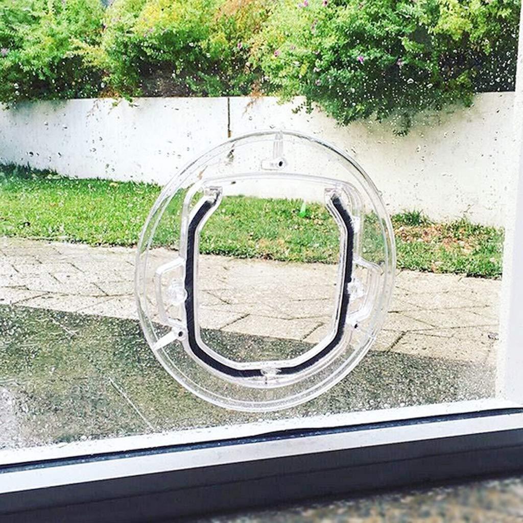 Gattaiola Porta Basculante per Gatti e Cani Porta per animali domestici Porta per cani Porta rotonda a ribalta trasparente con kit di blocco e rivestimento 4 vie per cucciolo per finestra con schermo
