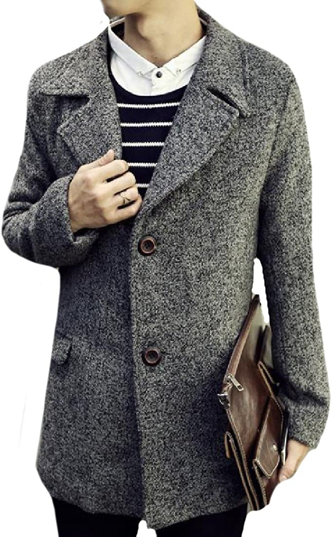 VITryst-Men Notch Lapel Wool Warm Fall Winter Lounge Overcoat
