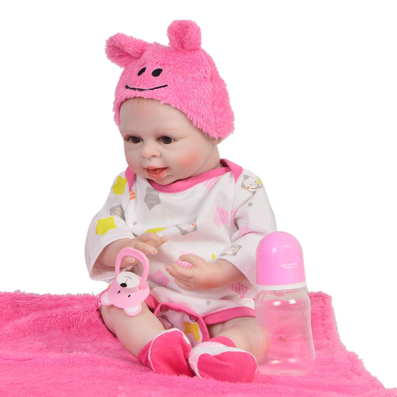 ZZYB Waschbar Baby SchwarzHaut Simulation Weißhe Silikon Lebensechte Reborn Baby Puppe 42cm Realistische Weißhkörperpuppe Kinder Spielzeug Geburtstag Geschenke Rosa