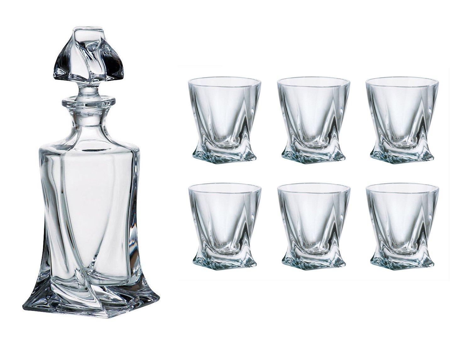 Crystalex Bohemia Quadro Liquor/Vodka Set, 1 Bohemian Crystal Glass 17-Ounce Decanter with Stopper and 6 Shot Glasses