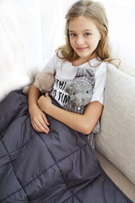YnM Weighted Blanket (7 lbs for Kids, 41''x60'') | 2.0 Heavy Blanket | 100% Cotton Material with Glass Beads