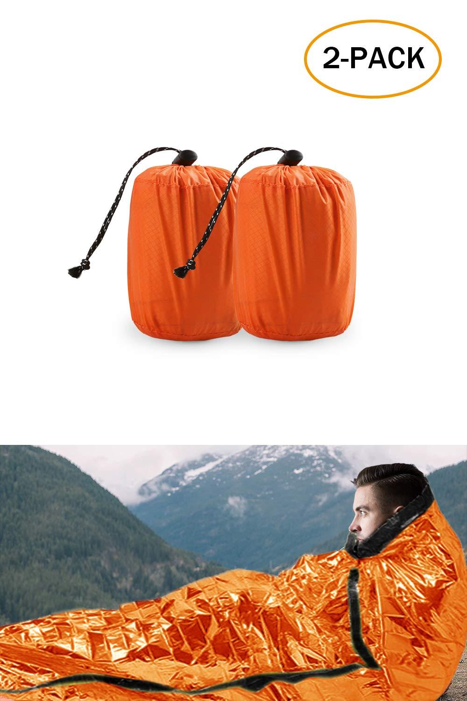 TWFRIC Emergency Sleeping Bag - Waterproof Lightweight Thermal Bivy Sack - Survival Blanket Bags Portable Nylon Sack Camping, Hiking, Outdoor, Activities (2 Pack)