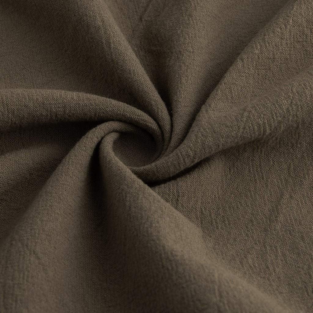 Kauneus Womens Cotton Linen Length Dress Long Sleeve Crew Neck Comfy Casual Peplum Dress Swing Ankle-Length Dress