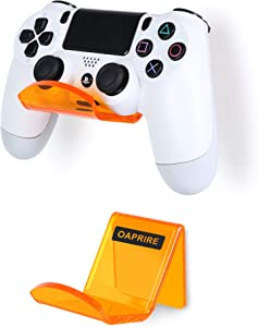 OAPRIRE Controller Holder Stand Wall Mount (2 Pack) - Perfect Display and Organization Modern&Retro Controller - Best Controller Accessories with Cable Clips - Create Cool Game Space (Clear Orange)