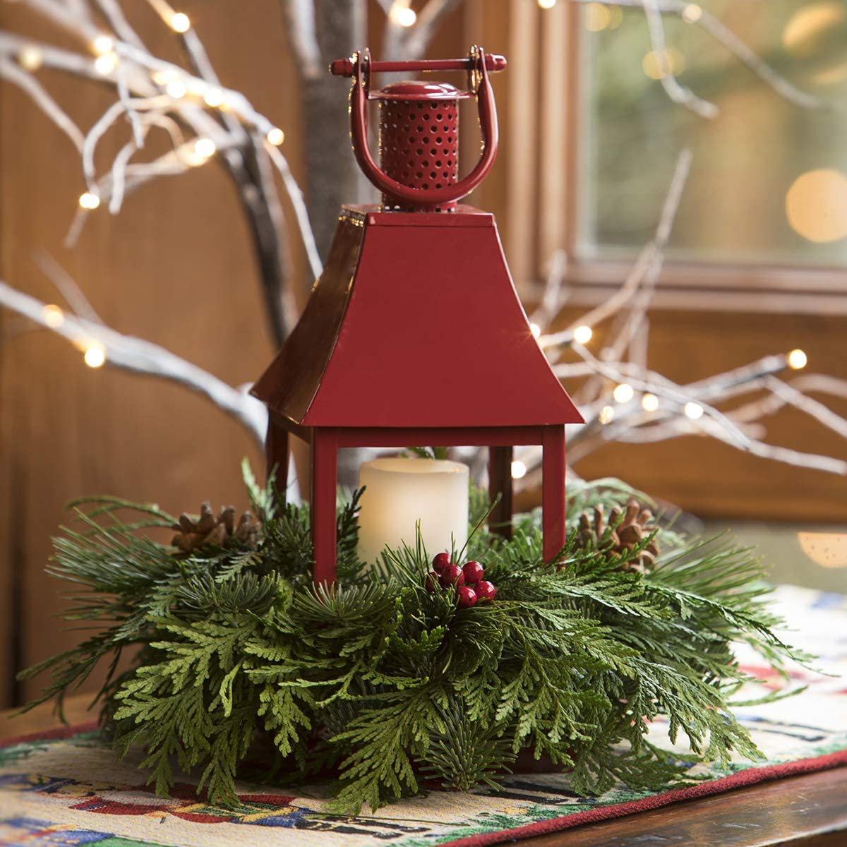 Green VAN ZYVERDEN 87410 Live Fresh Cut Pacific Northwest Lantern with LED Candle Centerpiece Holiday 14.5