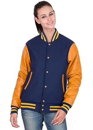 05b42ea6692 Caliber Apparels Light Gold Leather Sleeves   Royal Blue Wool Body Varsity  Jacket- Women X-S