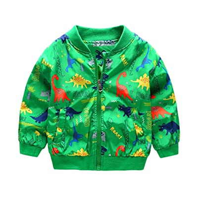 aKehen Kids Toddler Baby Winter Dinosaur Print Zipper Long Sleeve Jacket Trench Coat (Green, 2T)