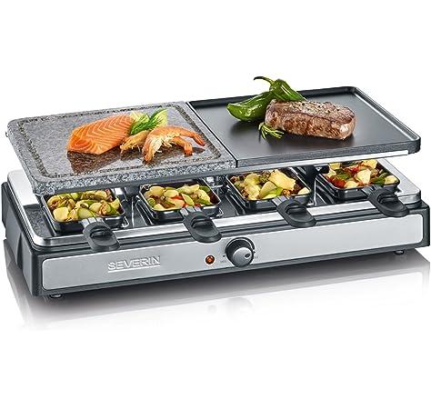 SEVERIN RG 9645 Raclette Grill con Piedra Natural y Plancha, 1.400 W aprox., Incl. 8 Mini-Sartenes: Amazon.es: Hogar