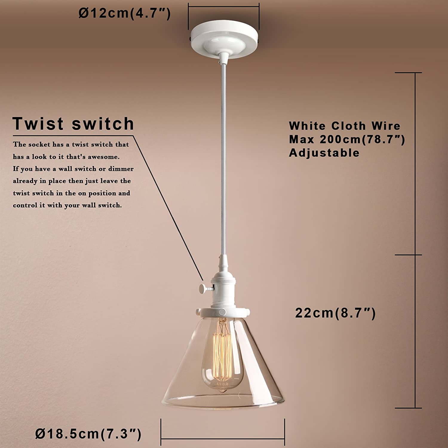 Pathson Industrial Vintage Pendant Light Fitting Ceiling Lamp 3 Switch Hanging Fixture Chandelier For Loft Coffee Bar
