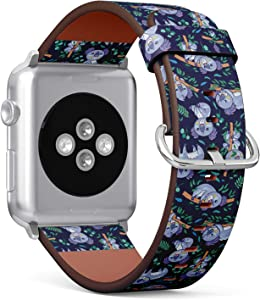 Compatible with Small Apple Watch 38mm & 40mm (Series 5, 4, 3, 2, 1) Leather Watch Wrist Band Strap Bracelet with Stainless Steel Clasp and Adapters (Koalas Eucalyptus Forest)