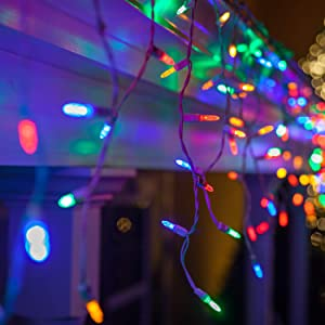 70 M5 LED Multicolor Icicle Lights, 7', White Wire, Multicolor Icicle Christmas Lights Colored Icicle Lights Hanging Icicle Lights Party (M5 Lights, Multicolor)