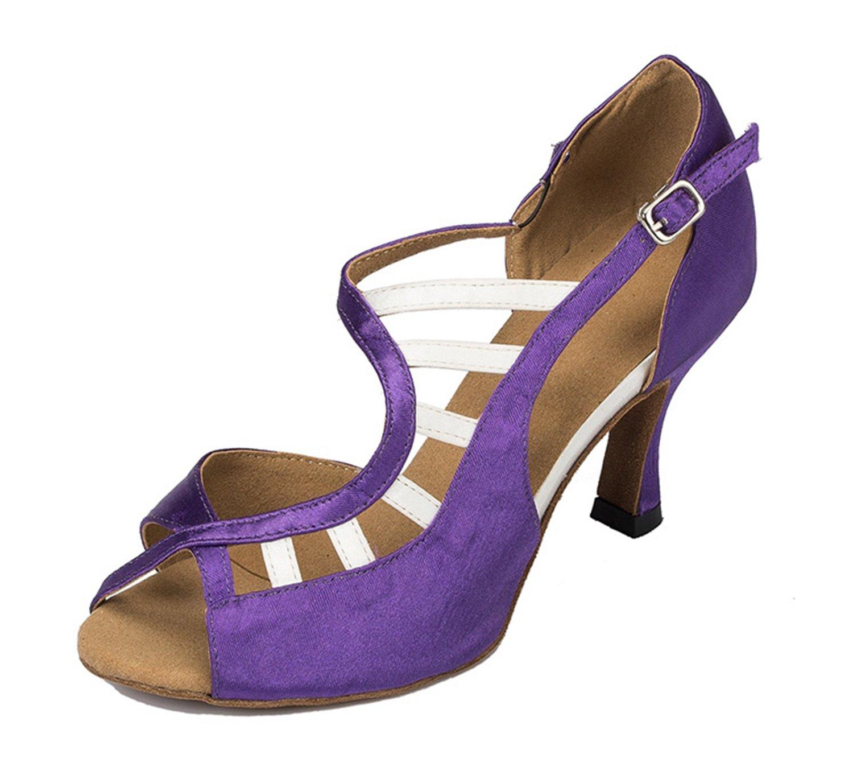 Minitoo à 3 cm-chaussures Minitoo à talons pour talons femme en Soirée Satin pour Mariage Soirée danse-Chaussures Sandales-Latine Violet ab6a381 - robotanarchy.space