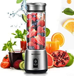 Portable Blender Personal Smoothie Blender Small Juicer Stainless Steel Fruit Shake Mixer With USB Rechargeable 400ml Travel Glass Cup