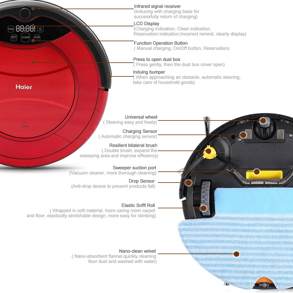 Haier T322 Aspiradora robot Smart Auto Vacuum microfibra de limpieza de polvo limpiador suelos Robot especialmente Silencioso schonend de muebles blandos ...