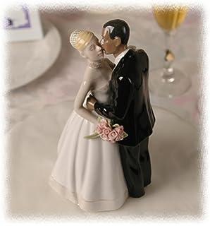 Porcelain Interracial Bi Racial Ethnic Wedding Cake Topper Blond Caucasian White Bride African American Black