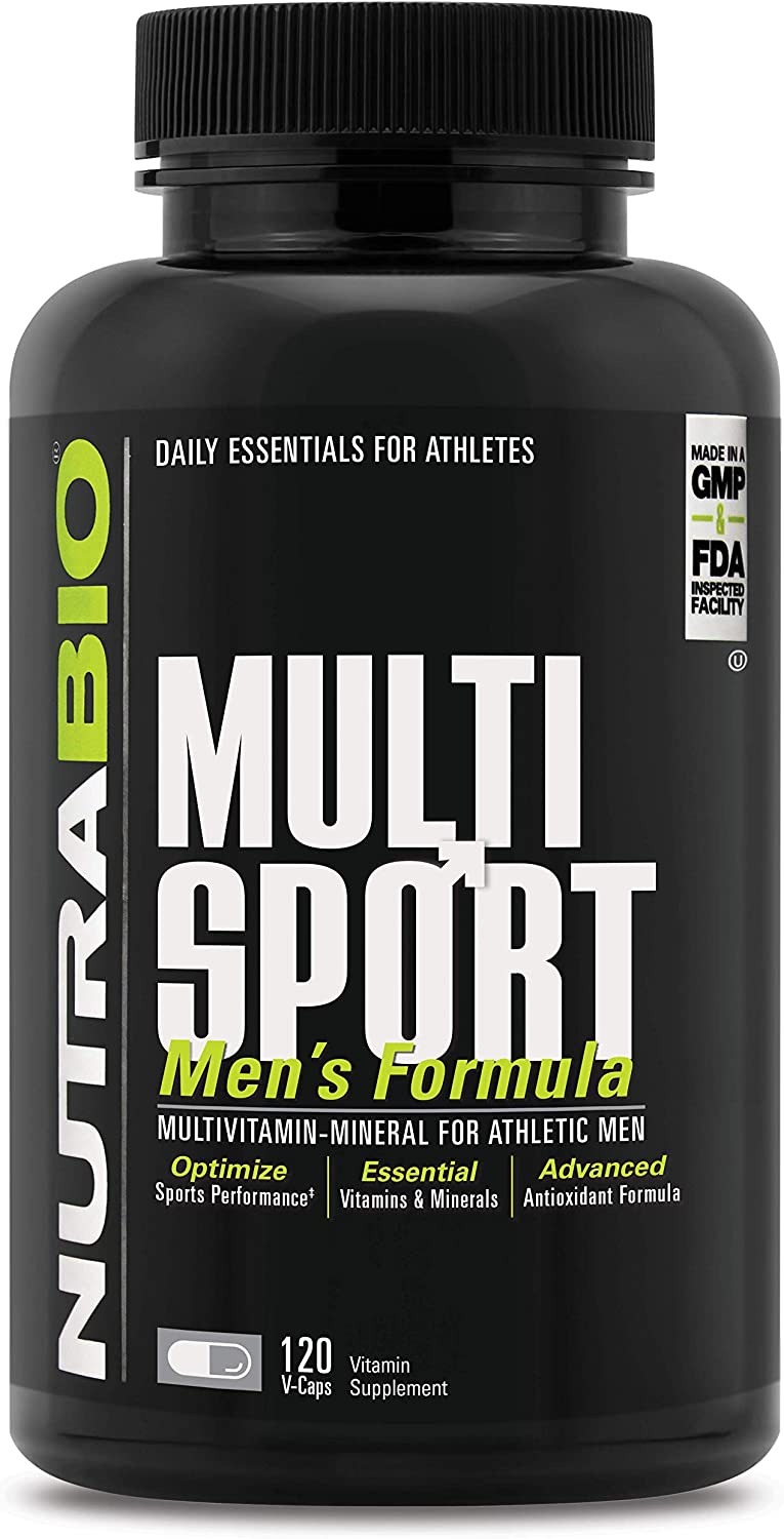 NutraBio Multisport for Men Multi-Vitamin and Multi-Mineral Supplement 120 Vegetable Capsules