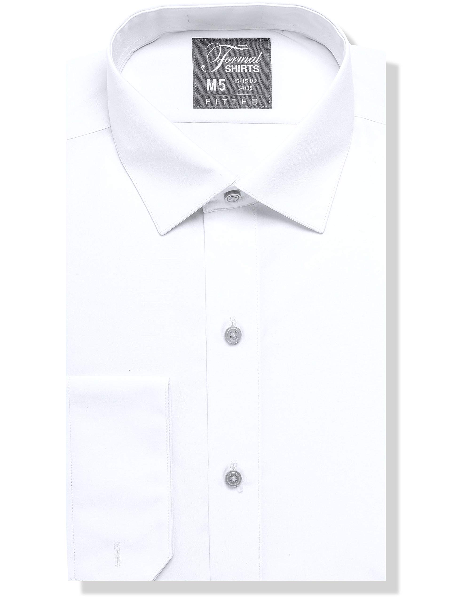 Luxe Microfiber Men's Fitted Spread Collar Dress Shirt - Style Jesse White by Luxe Microfiber
