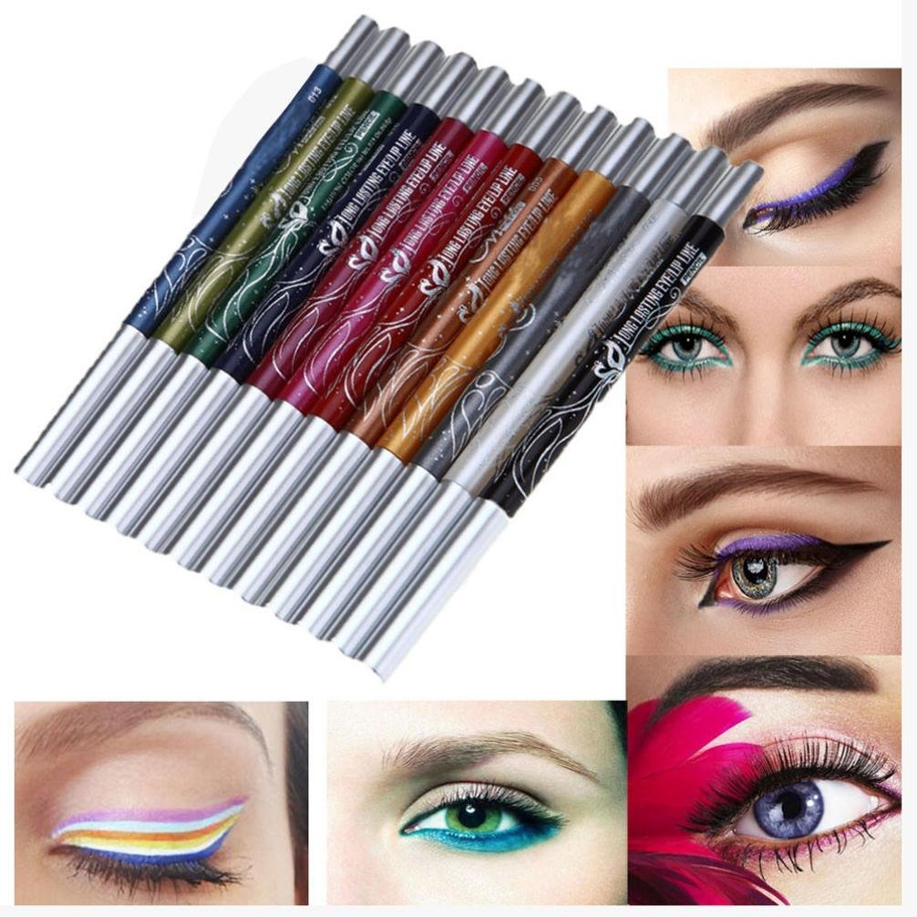 Lip Liner Pencil, Cosmetic Makeup Set Kit, Kingfansion 12 Colors Eyebrow Glitter Shadow Lip EyeLiner Pencil Pen