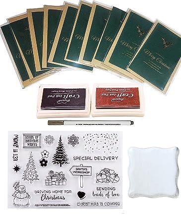 Amazon.com: Juego de 10 tarjetas de Navidad con sobres de ...