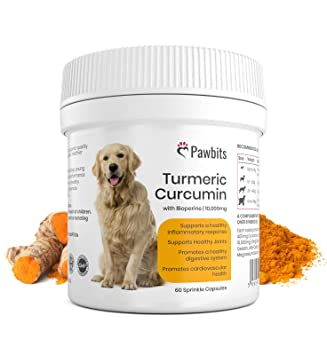 Turmeric for Dogs 500mg extract 10,000mg equivalent for Dogs 60 Sprinkle  Capsules Turmeric with Piperine | Helps Support Joints and Hips | Turmeric