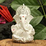 Collectible India Combo of Silver Plated Ceramic Lord Ganesha Figurine for Car Dashboard and Rakshabandhan Set (3.5 x 2inches)