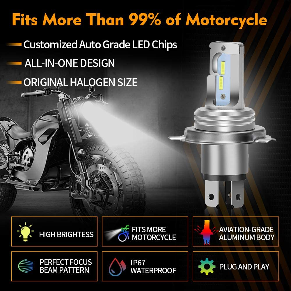 1 Pack OPL5 H4 LED Motorcycle Headlight Bulb 8,000 Lumens Hi//Lo Beam 6500K Extemely Bright Xenon White Bulb IP67 Waterproof All-in-one Plug and Play Conversion Kit