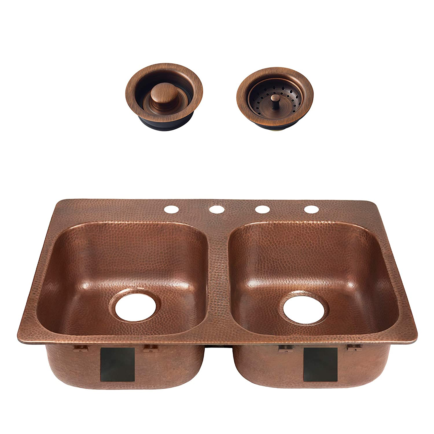 Sinkology SK104-33AC-4R-AMZ-BD Santi Handmade Pure Solid 33 in. 4-Hole Right Side Antique Strainer Drain and Disposal Flange Double Bowl, Drop-in, Copper Kitchen Sink Kit