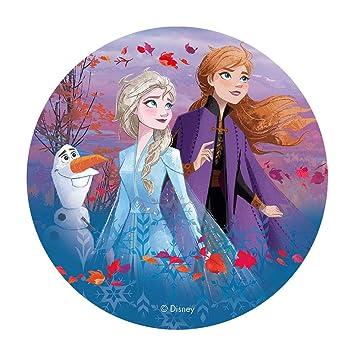 Dekora-114382 Decoracion Tartas de Cumpleaños Infantiles en Disco de Oblea de Frozen II-Elsa, Anna y Olaf (114382)