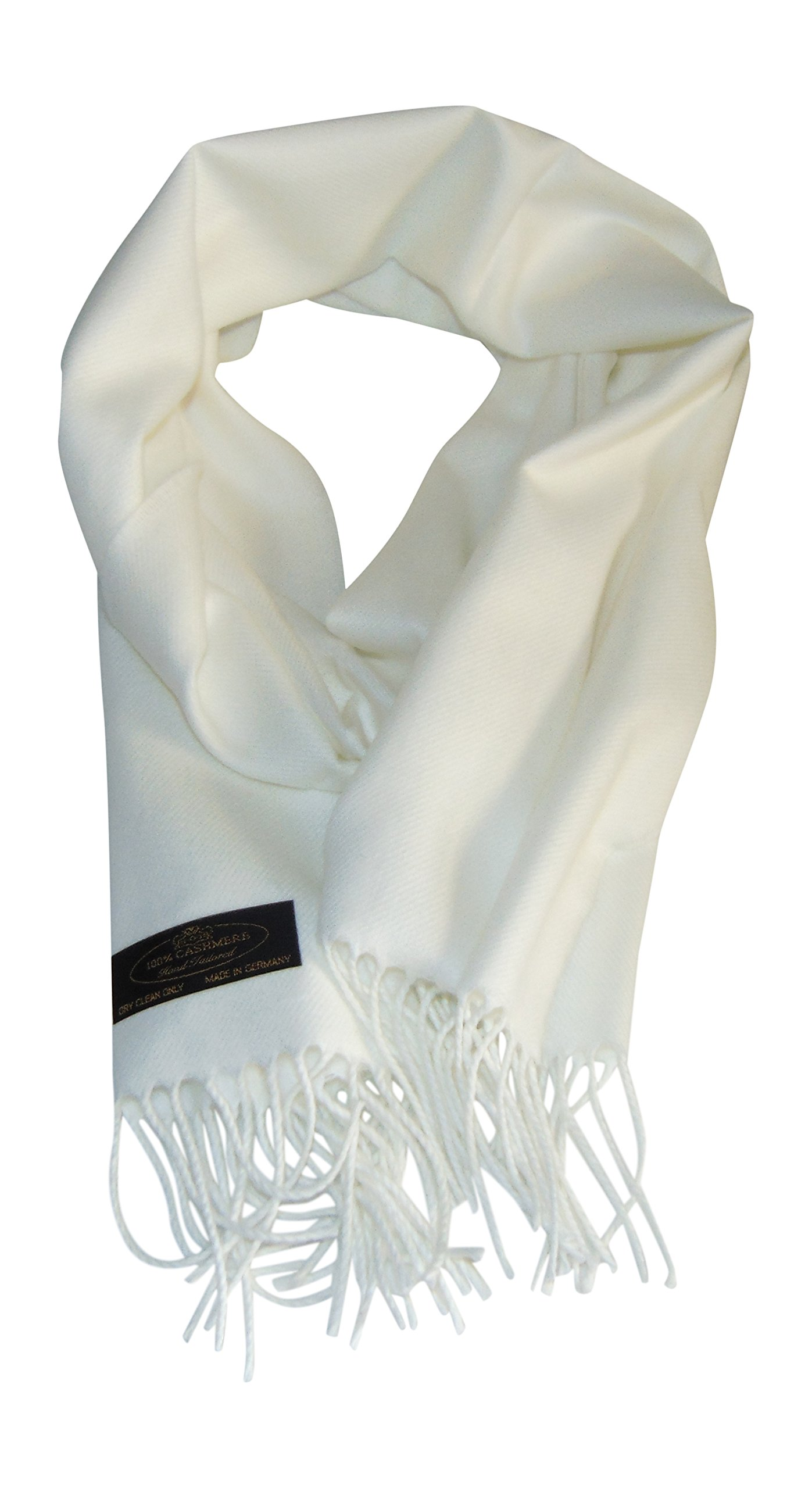 Annys Super Soft 100% Cashmere Scarf 12 X 72 with Gift Bag (White)