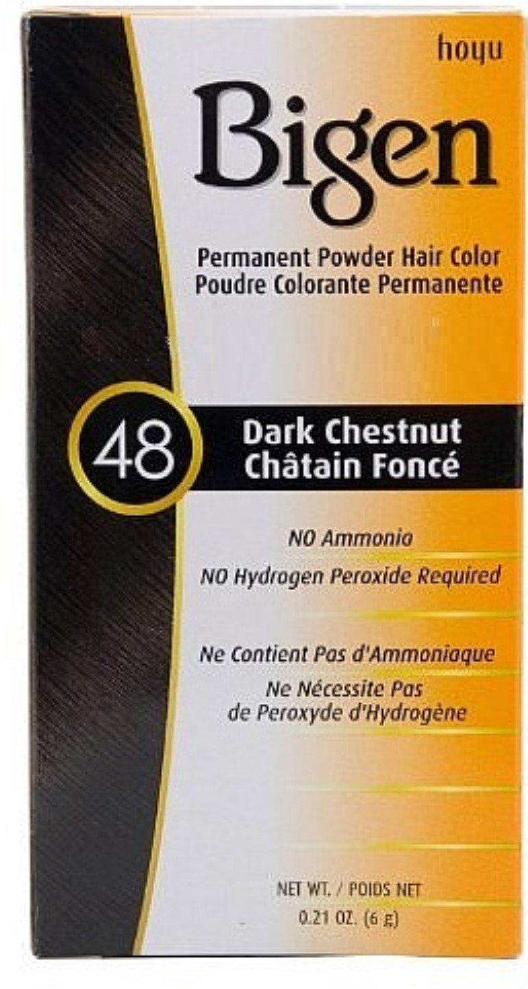 Bigen Permanent Powder Hair Color 48 Dark Chestnut 1 ea (Pack of 12)