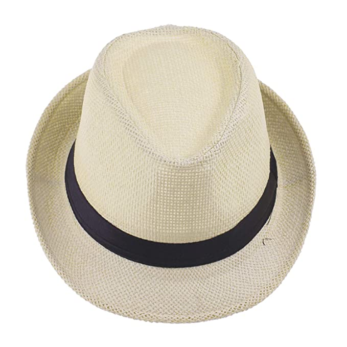 HEWPASKE Child Kid Jazz Beach Fedora Trilby Gangster Cap Summer Sunhat  Straw Panama Hat for Boys b0ecf57e8732