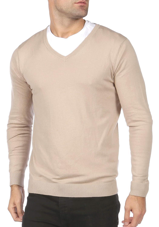 Blu Cherry Men's V Neck Premium Cotton Knitted Jumper Pullover