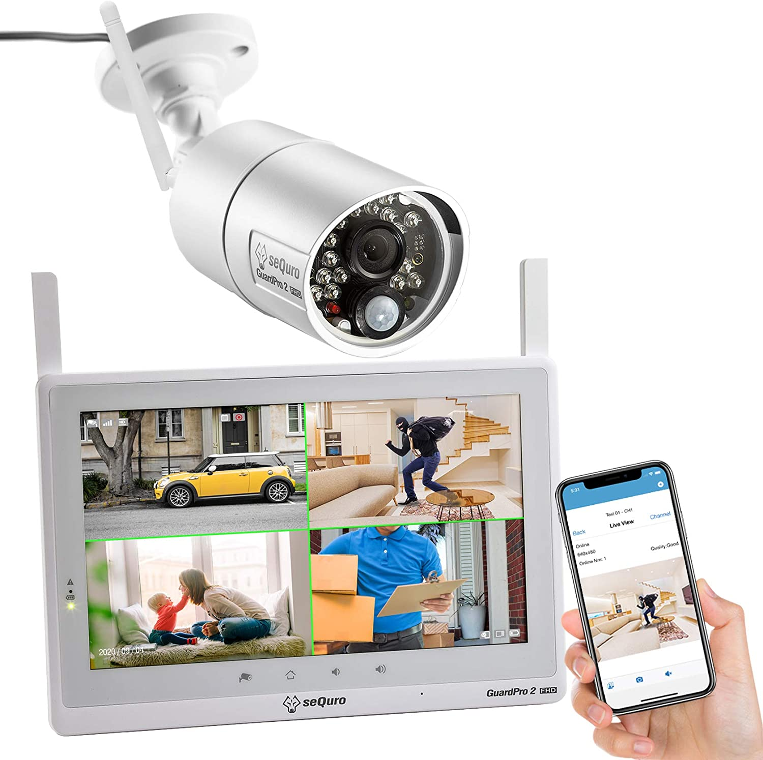 Amazon Com Sequro Wireless Security Camera System With Monitor Guardpro2 Weatherproof Outdoor Night Vision Full Hd 1080p Cam And 10 1 Touchscreen Home Surveillance Dvr Kit With Smartphone Access Hdmi Output Camera