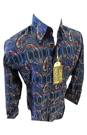 97ea51a1f04 Flash Apparel Mens Manzini Button Down Dress Shirt Blue Silver Designer  Paisley French Cuff 77 (