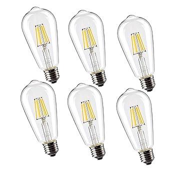 Leadleds ST64 - Bombilla de filamento LED (Edison, E27, no regulable, 60