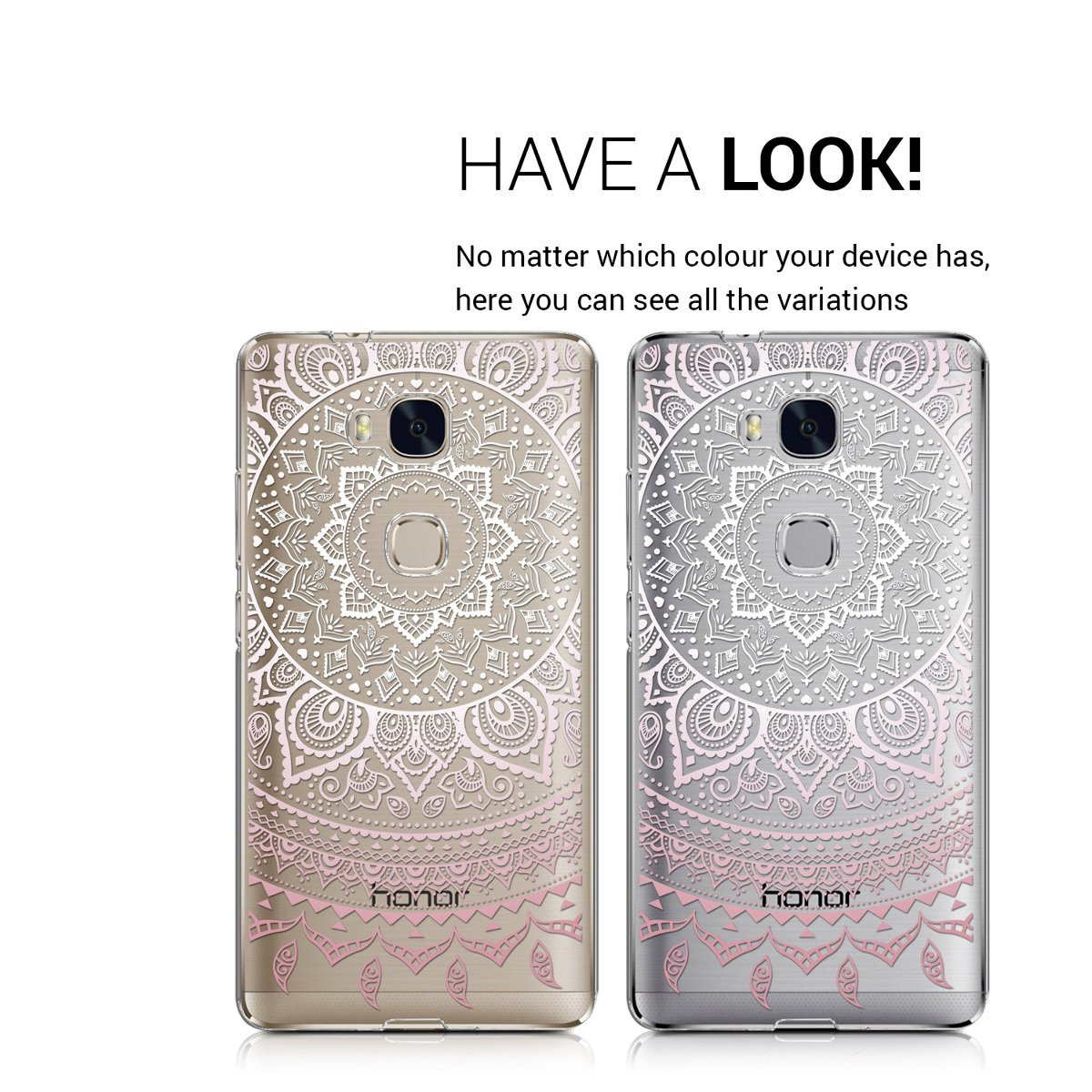 kwmobile TPU Silicone Case for Huawei Honor 5X / GR5 - Crystal Clear Smartphone Back Case Protective Cover - Light Pink/White/Transparent
