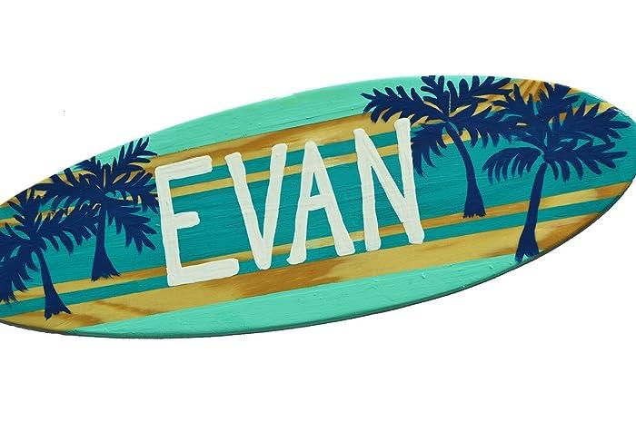 Surfer Themed Wall Decor   18 Inch Custom Surfboard Wall Art   Beach House  Sign