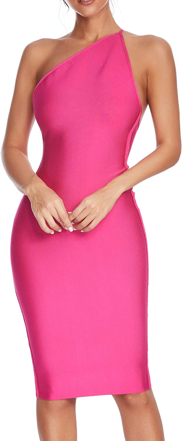 Womens Spaghetti Strap One Shoulder Vestidos Bandage Bodycon Party Dress