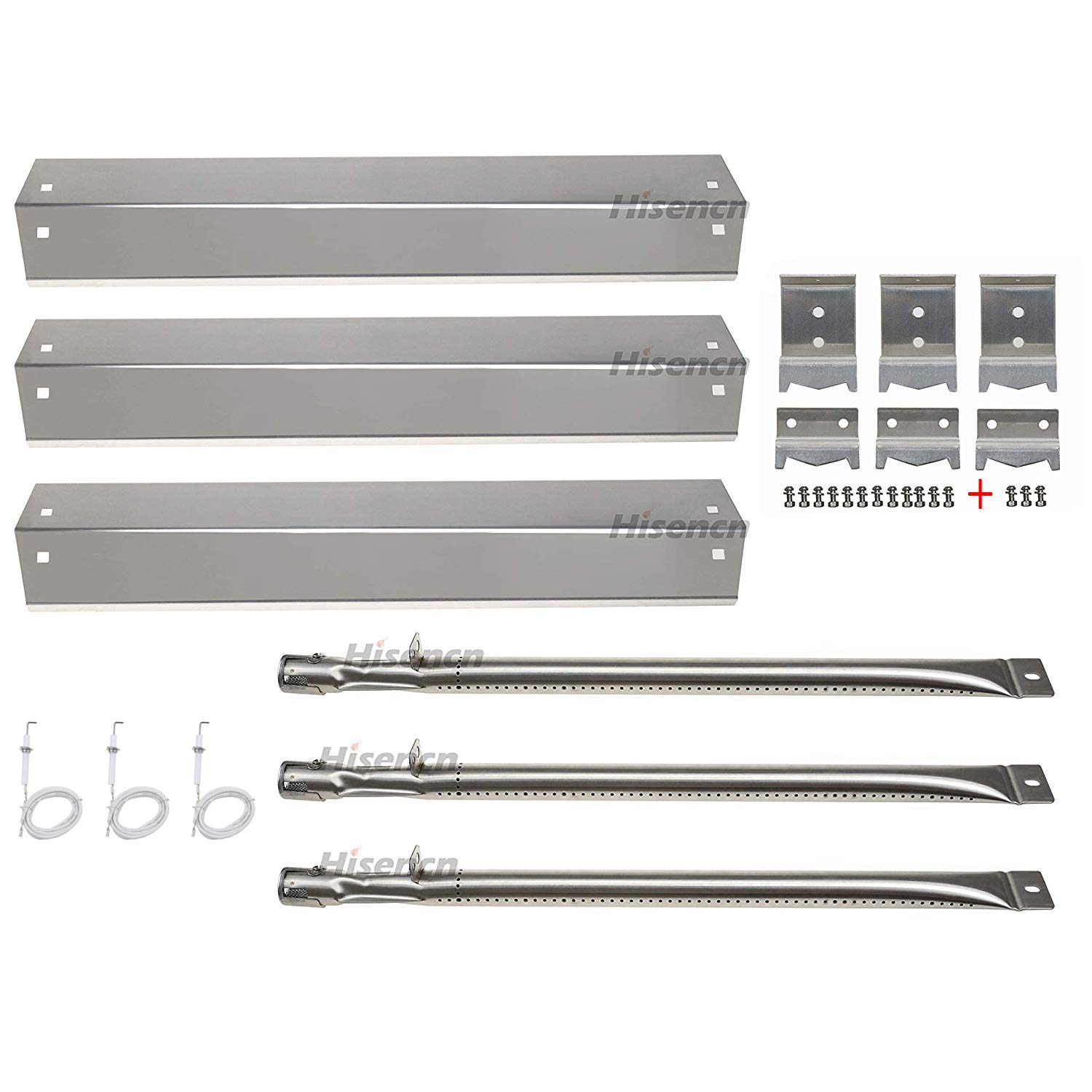 Hisencn Repair kit Parts Stainless Grill Burner Tube, Heat Plate Shield Tent, Hanger Brackets, Electronic Ignitor Replacement for Chargriller 3001, 3008, 3030, 4000, 5050, King Griller Gas Grill by Hisencn