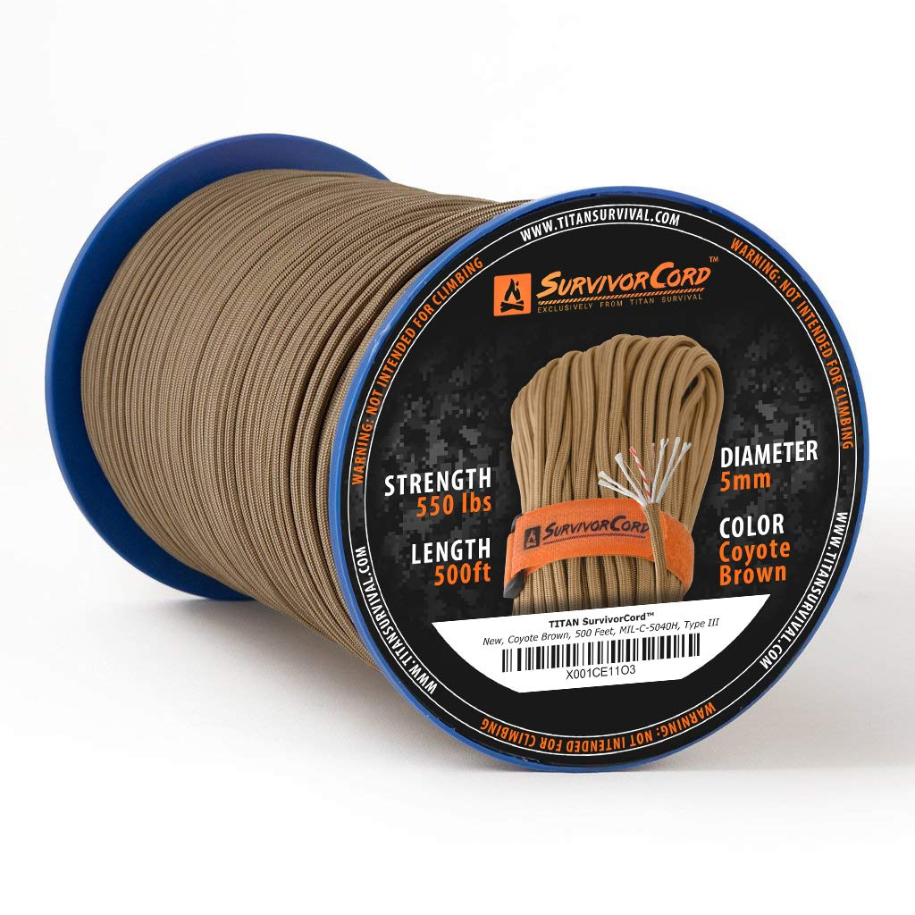 TITAN SurvivorCord Spool | COYOTE BROWN, 500 FEET - Patented MIL-SPEC 550 Paracord (3/16'' Diameter) with Integrated Fishing Line, Fire-Starter, and Utility Wire. FREE Paracord Project eBooks included.