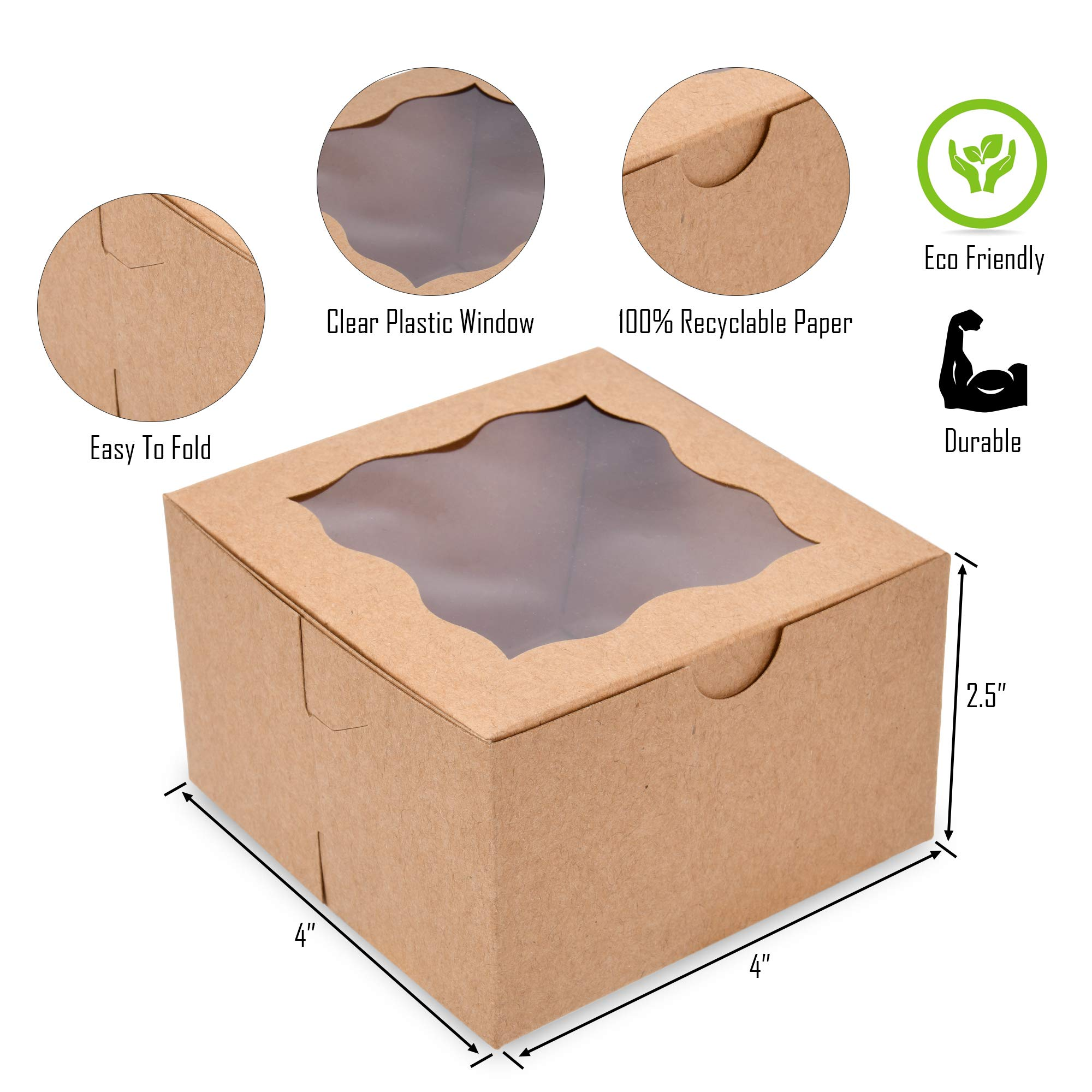 {Pack of 50} White Bakery Boxes with Window 4x4x2.5'' Cute Cardboard Gift Packaging Containers for Cookies, Cupcakes, Small Desserts, Pastry, Wedding Cake, Baby Showers, Donuts, Treats, Party Favors! by Surf City Supplies (Image #6)