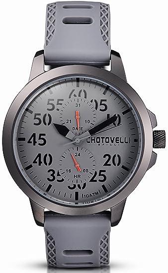 Chotovelli Aviador– Reloj para hombre - analógica multi funcion- correa caucho gris 33.13