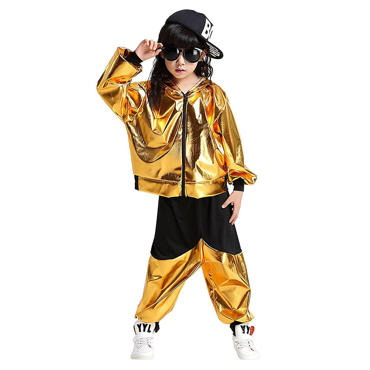 DREAMOWL Kids Dance Costumes Hip-hop Jazz Performance Halloween Paint Hooded Outfits (Gold, 6X-8)