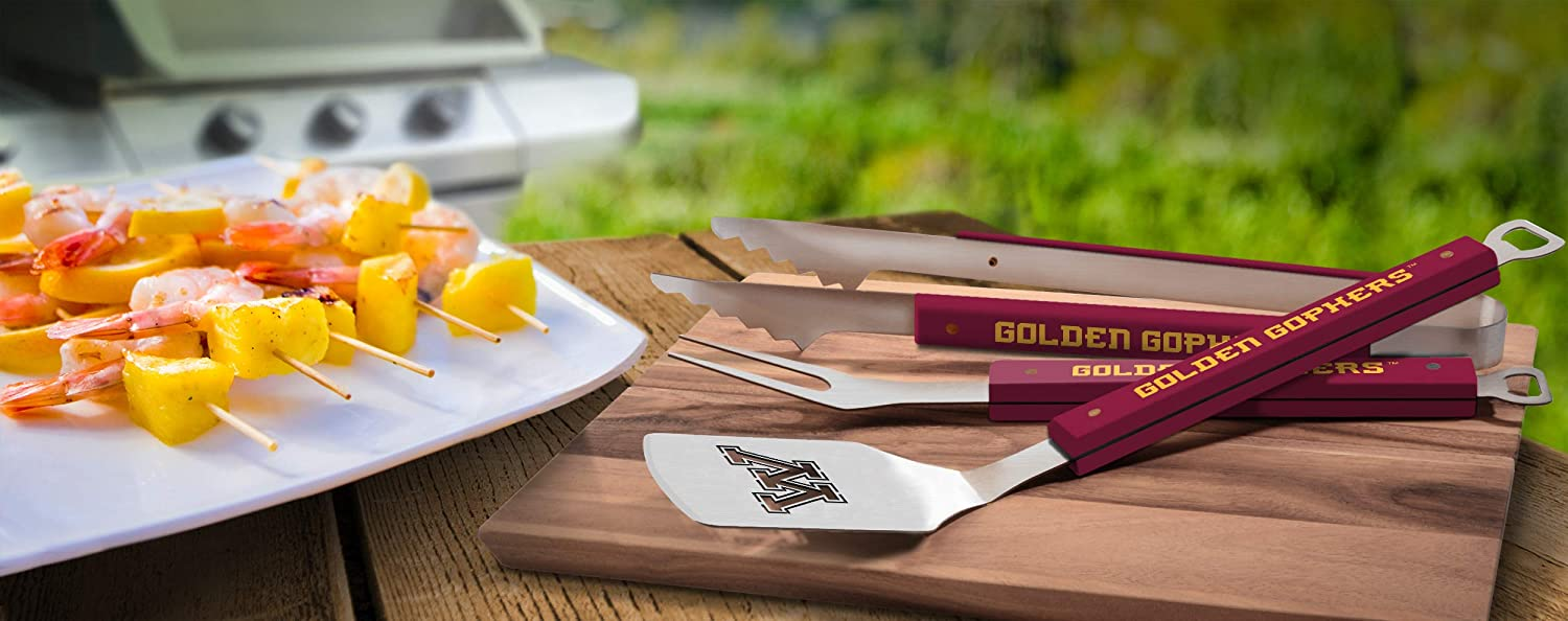 22 x 9 Stainless Steel YouTheFan 5022357 NCAA Minnesota Golden Gophers Spirit Series 3-Piece BBQ Set