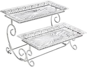 Godinger Silver Art Dublin 2 Tiered Glass Buffet Serving Tray - Chrome Plated Platter Stand with Starburst Design - Party and Event Dessert and Food Display Server