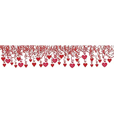 Amscan Valentine Hearts Mega Value Pack Foil Swirl Decorations Assorted Red: Kitchen & Dining