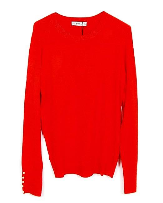 Zara - Sudadera - para mujer Rojo rosso Medium: Amazon.es: Ropa y accesorios