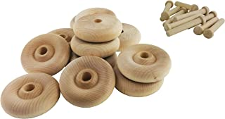 "product image for Wood Wheels - 24 Pack with Free Axle Pegs - Made in USA (2"" Diameter)"