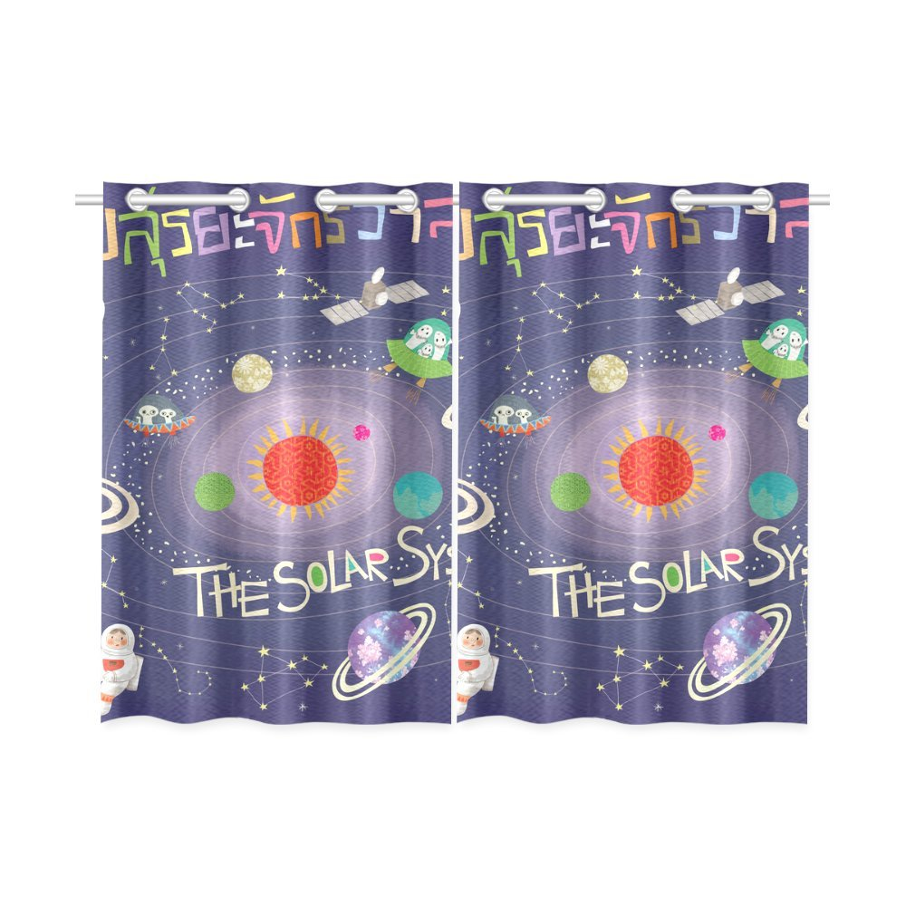 your-fantasia the Solar System is a Gravitationally System Window Curtain Kitchen Curtain Two Pieces 26 x 39 inches
