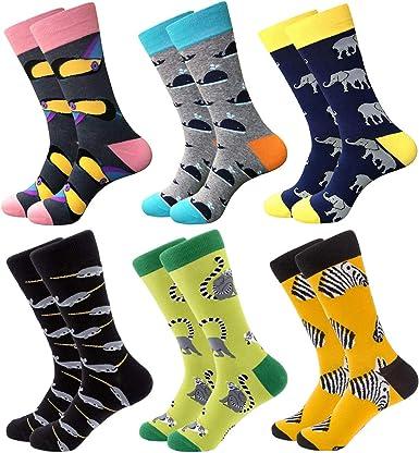 Calcetines coloridos para hombre – calcetines de vestir de algodón con diseño innovador, estilo informal, 6 pares Serie Animal Talla única: Amazon.es: Ropa y accesorios
